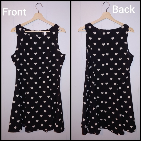 42b5e6bcb387 H&M Dresses | Hm Divided Black White Polka Heart Skater Dress | Poshmark